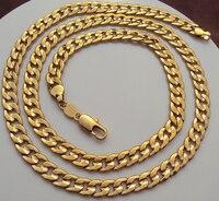 Красивый 24 К Желтое Золото GF Фигаро Снаряженная Цепи Ожерелье 23.6 Дюймов 7 ММ Безусловная Пожизненная Гарантия Замены