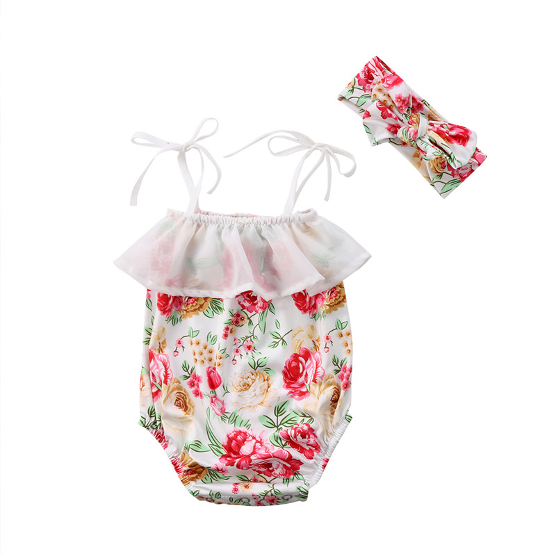 Girls' Baby Clothing Wholesale Discount Price Baby Girls Strap Ruffles Floral Bodysuit Jumpsuit+headband 2pcs Summer Flower Sunsuit Infant Clothes Clothing Sets