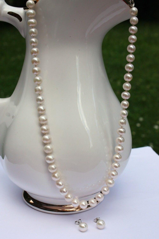 Livraison Gratuite>> offre Spéciale perle d'eau douce perles ensemble de bijoux boucles d'oreilles perle collier Collier
