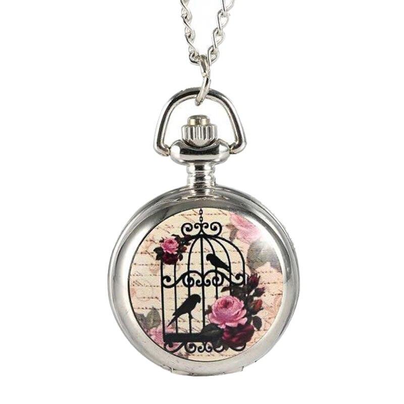 Fashion Trumpet Two Bird Cages Pocket Watch Creative Mini Pocket Watch