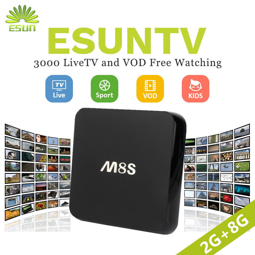 M8S Android TV Box 2G/8G With1 Year RoyalTV/ESUNTV/LuckyTV UK US Spain Arabic French Sweden Nertherland VOD Set top box M8S PRO