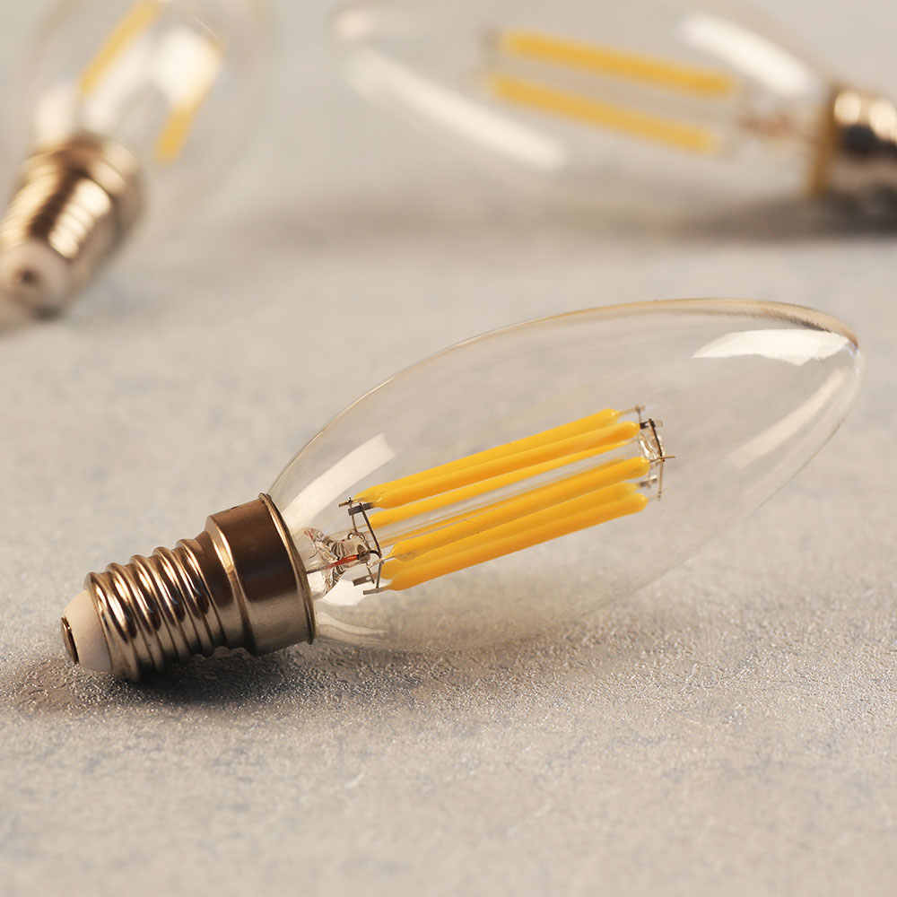 Led Candle Bulb 6W 4W 2W E14 Led 220V E12 110V Retro Edison Filament Light Dimmable Lamp Energy Saving for Indoor Home Lighting