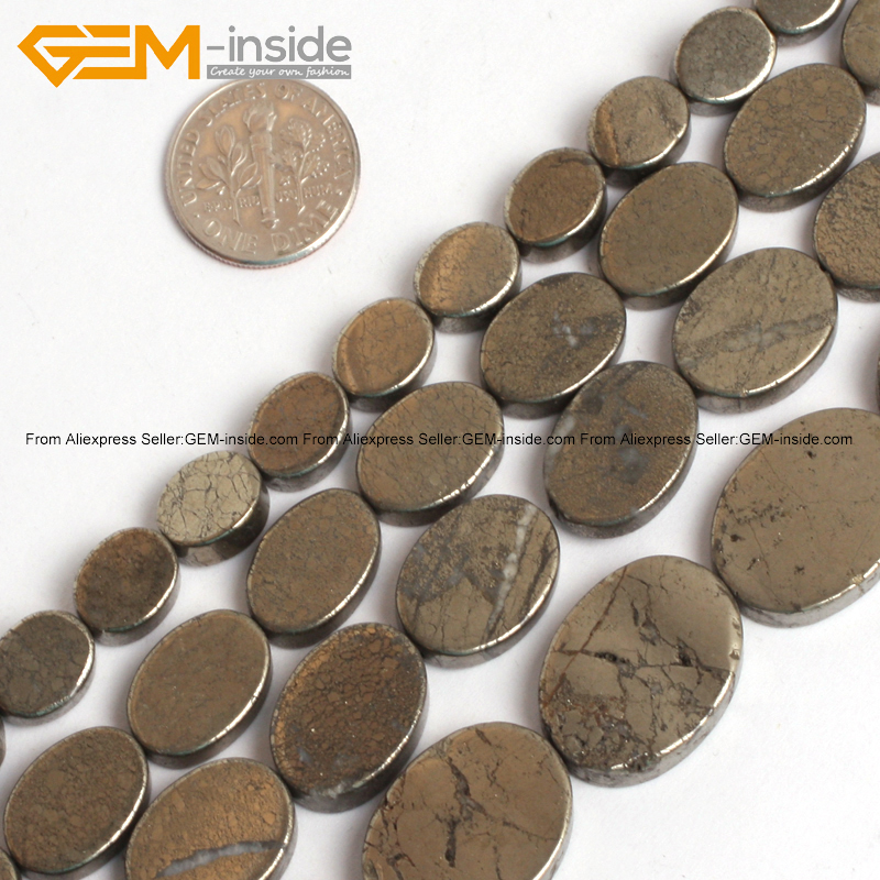 Gem-inside Natural Flat Oval Shape Pyrite Beads For Jewelry Making Bracelet Necklace Selectable Size 15inch DIY Jewellery