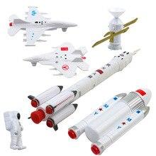 7 conjunto de exploração espacial foguete tripulado simulação de vôo espacial modelo de satélite brinquedos lutador educação precoce