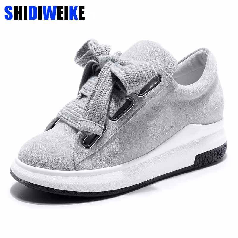 SHIDIWEIKE 2018 Genuine Leather flat shoes women Lace up Platform Loafers Flats shoes women casual shoes ladies creepers