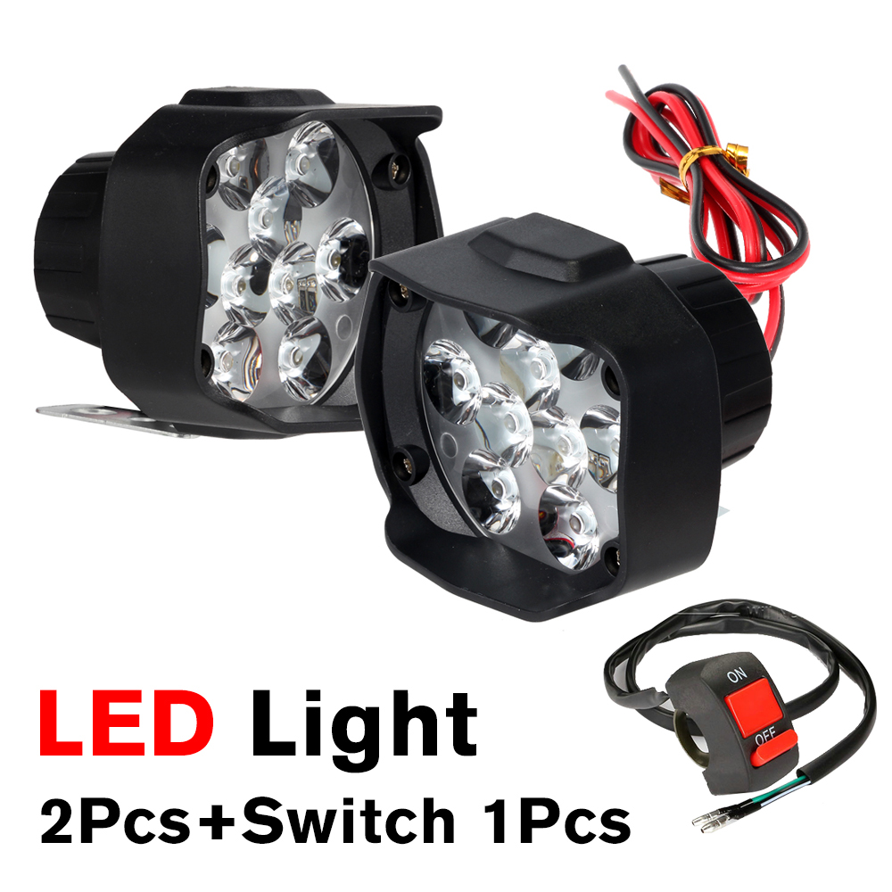 High Power 12W 15W 30W Super Bright Motorcycle Led Light Fog Spot White Headlight Working Light 12V 4 6 9 18 LED Chips