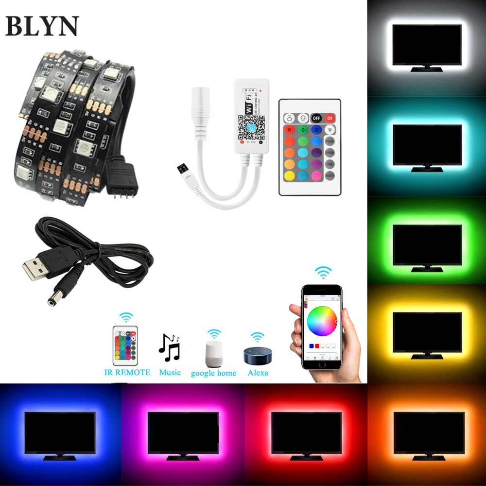 DC5V USB WIFI TV Light Computer Screen Back Bias Tape Light 2M 5050 RGB LED Strip Rope Black PCB Alexa Google Home Sound Control mini wifi rgb strip light controller with music control and voice control compatible with google home