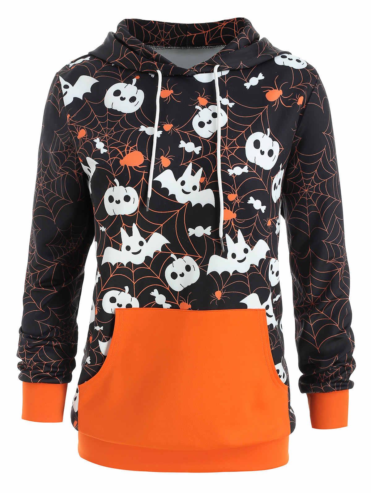 Wipalo осень плюс Размеры Хэллоуин паутину тыквы печати балахон Повседневное Для женщин с капюшоном карман-кенгуру пуловер, худи, свитер