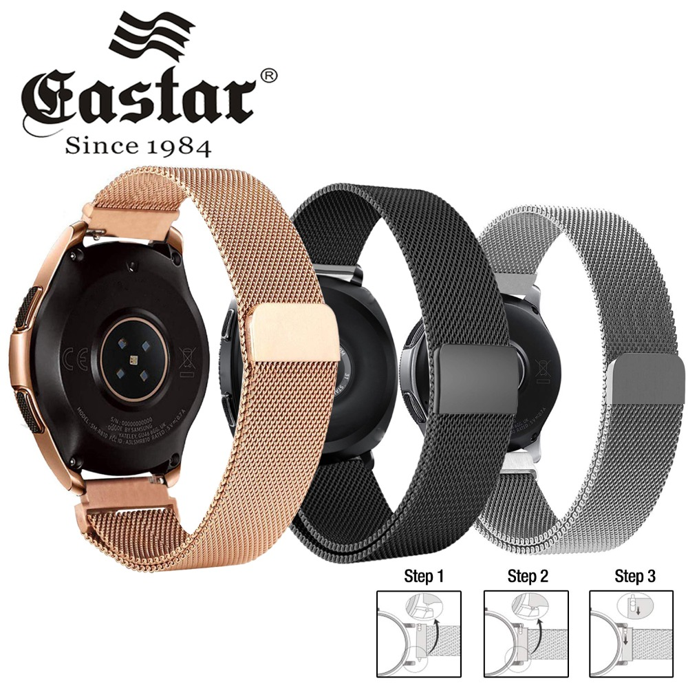 Stainless-Steel Band Magnetic-Release-Strap 46mm Watch 42mm Milanese Metal 20mm Samsung Galaxy