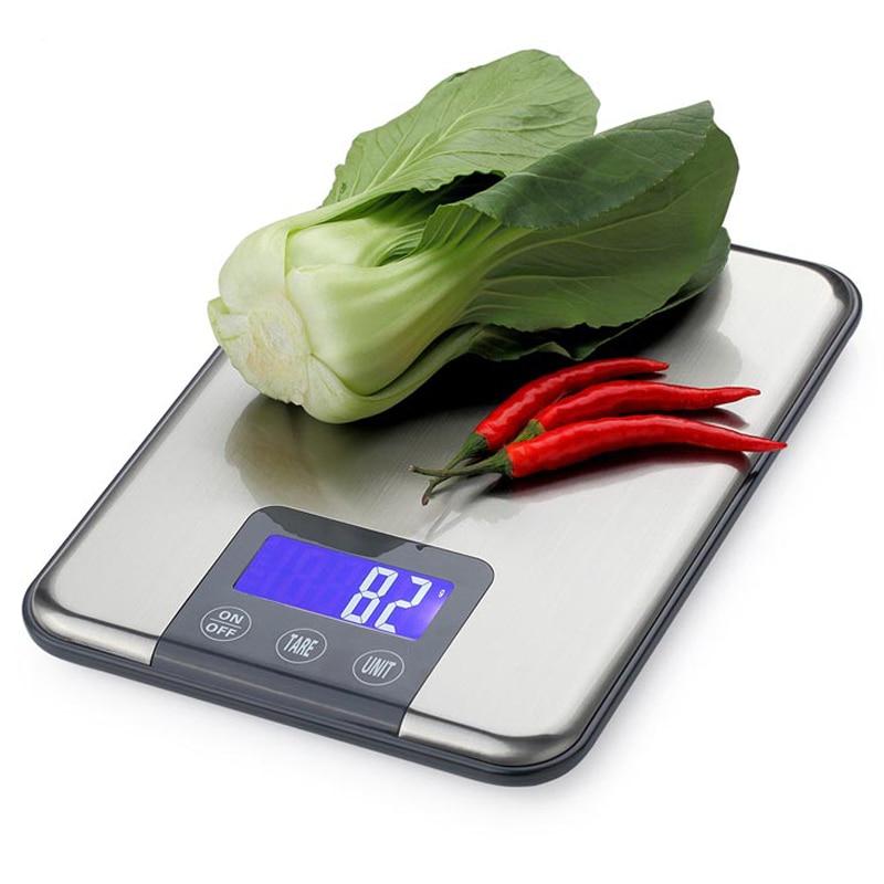 15 KG 1g pantalla táctil Digital de cocina Escala de 15 kg gran dieta de alimentos equilibrio de peso de acero inoxidable Delgado electrónica las escalas