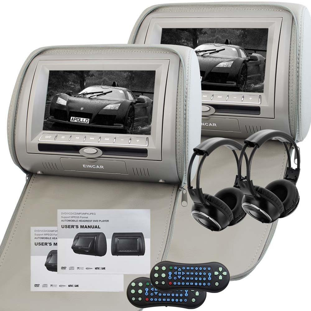 Car Pillow Headrest Monitors support Car CD/DVD Player USB/SD FM Transmitter Auto Stereo IR Headphone(2Include) + 32 bits Games pair of 9 car headrest cd dvd player with tft lcd digital screen auto monitor support usb ir fm transmitter two 2 ir headphone