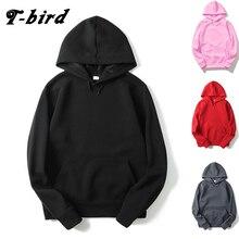 T-bird 2017 Brand Men Hooded Solid Sweatshirts Men Women Hoodies Fitness Streetwear Hip hop male Pullover winter Keep warm hoody