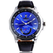GRAND GAGNANT Marque 2016 Nouveau Polygone hommes Automatique Auto-Vent Montre-Bracelet Bleu Date Automatique Bracelet En Cuir Mâle Cadeau Montre mécanique