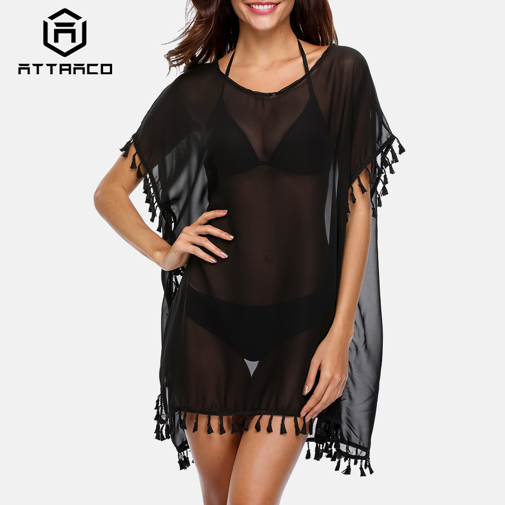 Attraco Women Beach Cover Up Kaftan Bikini Chiffon Tassel Cover-Ups See-through Swimsuit Women Swimwear Sexy Bathing Suit