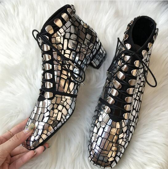 Shiny Glitter Leather Boots Martin Runway Women Sliver Bling Glitter Lace Up Ankle Botines Women Low Heel Boots For Women цена 2017