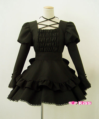 Anime Lolita Maid Black cosplay clothes  costume Custome Made Free Shipping