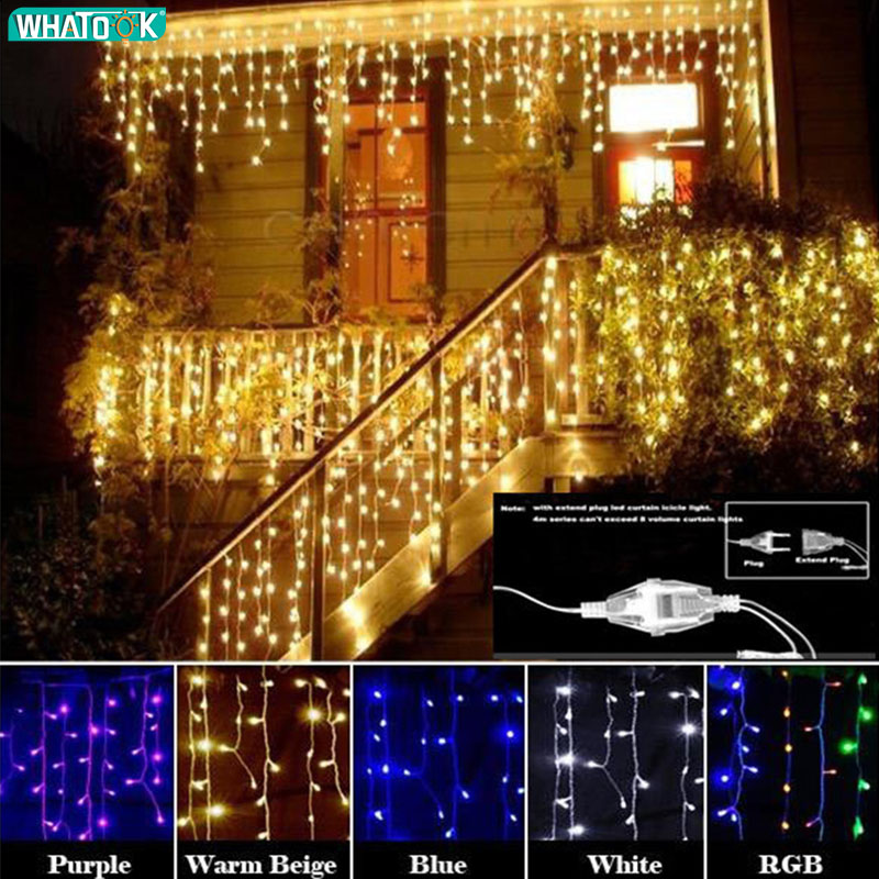 Single Mode Or 8 Modes Christmas Lights Outdoor 4.5m 100 Led Garland Curtain Icicle String Lights Party Wedding Decor Lamp 220V