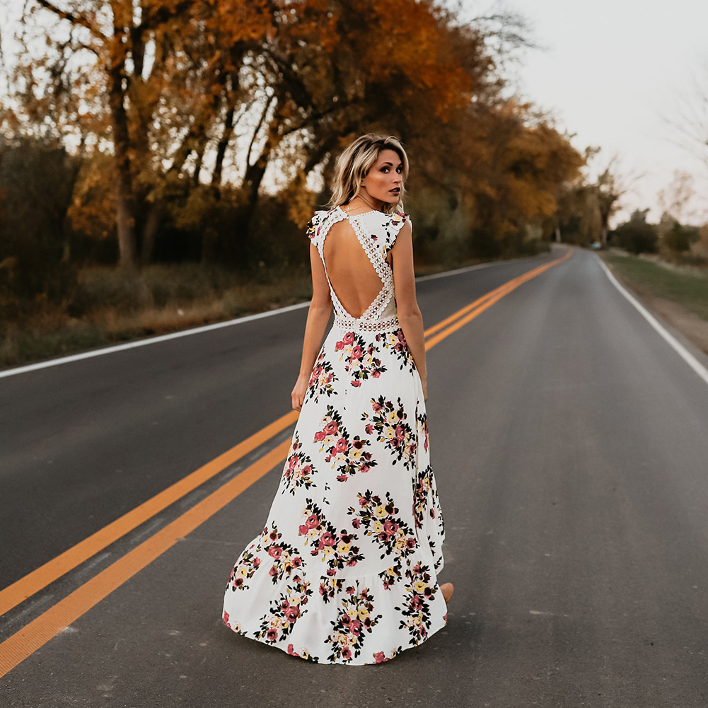 2018 summer new irregular swallowtail dress hollow backless European and American sleeveless explosion print dresses vestidos