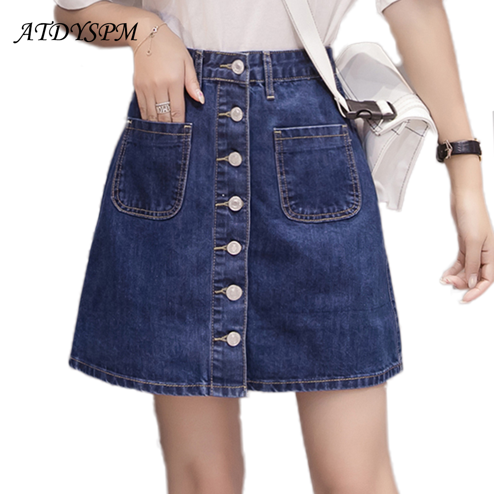6d95e5a15 2019 nueva falda de línea a Mini Jeans de moda para mujer, faldas de  mezclilla de cintura delgada con botón de teja, talla grande, faldas  casuales ...