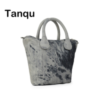 TANQU Short Long Round Denim Canvas Fabric Handle With Insert Lining For Obag Classic Mini O