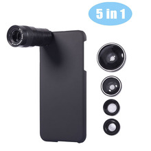 5in1 Universal Mobile Phone Lens for iPhone 5 6 6s plus 9X Telephoto Lens+Fisheye Lens+Wide Angle+Macro Lens With Phone Case