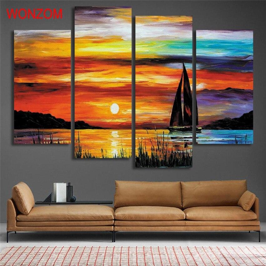 4 unids anochecer lago barco de vela pintura lienzo pintura ...