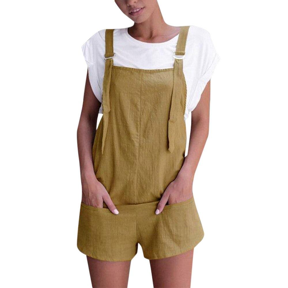 CHAMSGEND jumpsuit 2018 New Fashion Women Elastic Waist Dungarees Linen Cotton Pockets Rompers Playsuit Shorts Pants July3