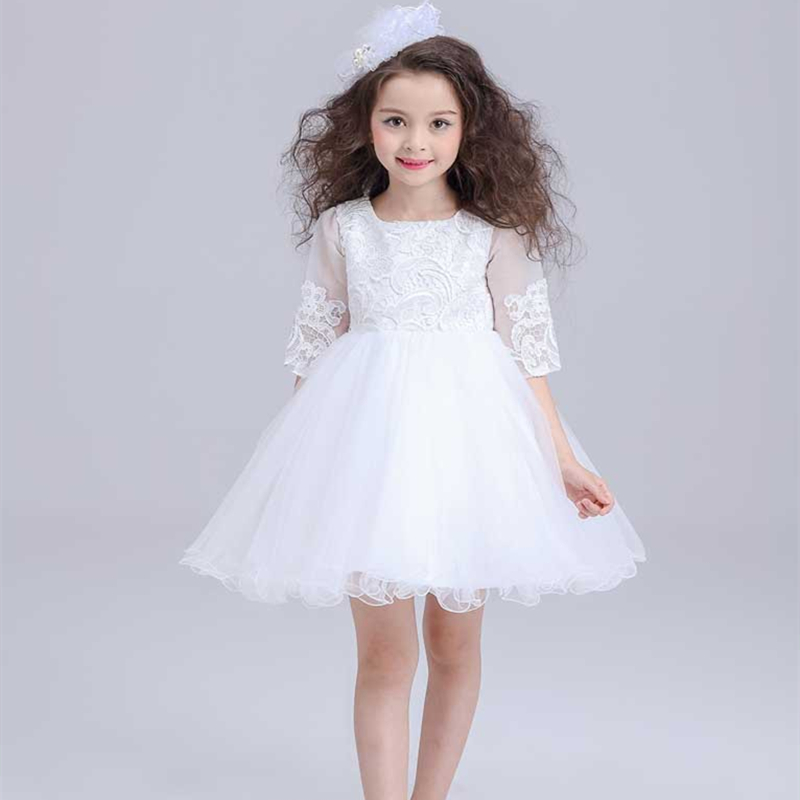 Half Sleeve Toddler Girls Show/Performance Lace Flowers White Christening Noble Wedding Princess Bowknot Party Formal Dress