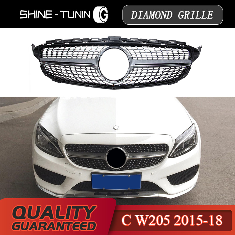 Suitable for M-B C-class w205 diamond radiator silvery gloss black grille c63 AMG for benz 2015 + sports edition abs material Mercedes-Benz A-класс