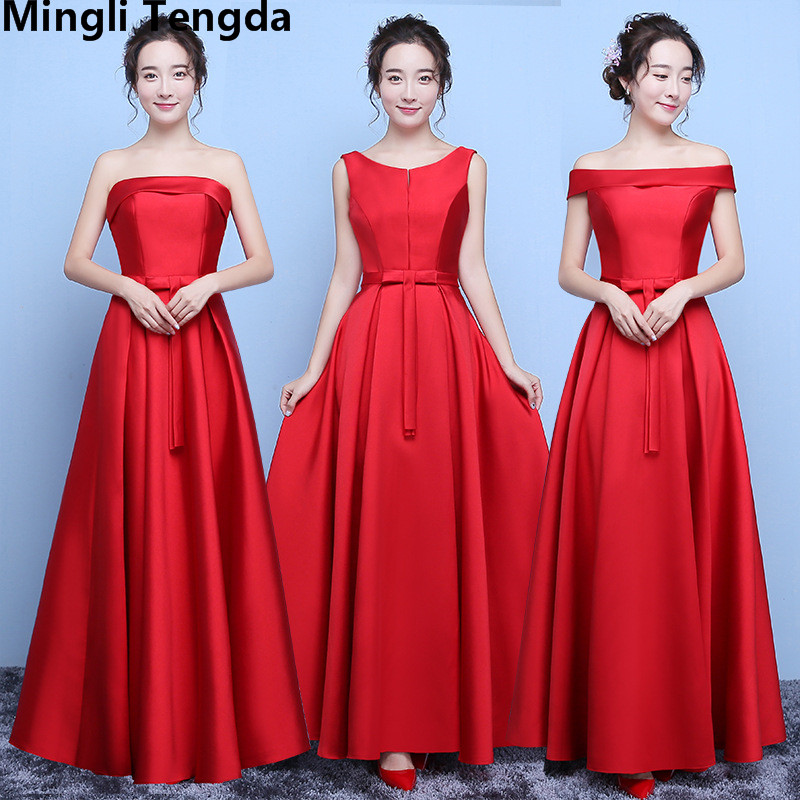 Mingli Tengda Red Sweet Off the Shoulder   Bridesmaid     Dresses   Long Elegant Boat Neck   Bridesmaid     Dress   robe demoiselle d'honneur