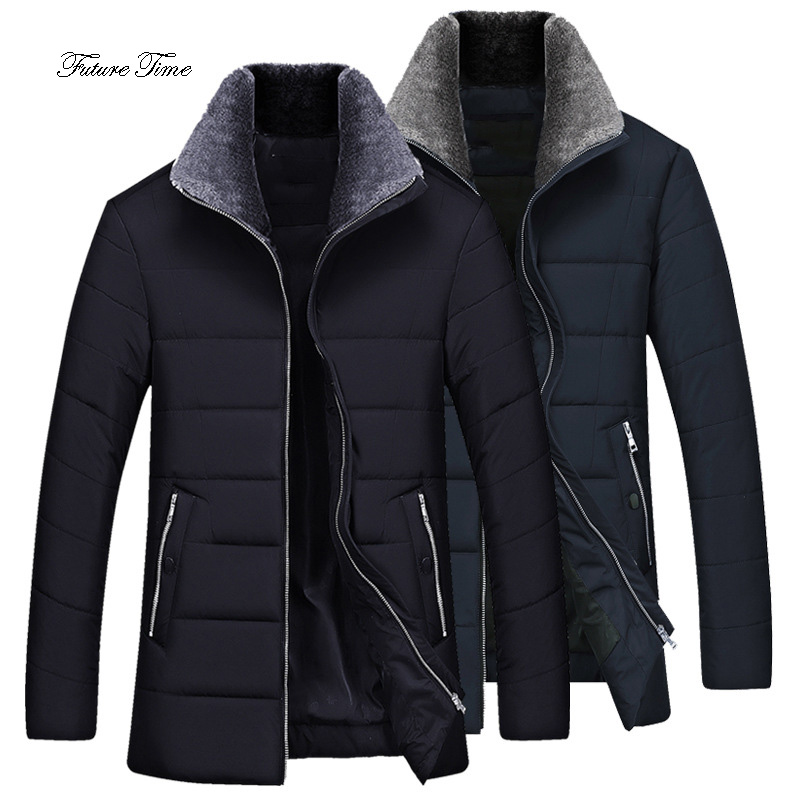 Mens Jacket Winter New Thicken Cotton Clothing Male Medium And Long Section Fur Collar Cotton Coats Solid Warm Parkas WY140