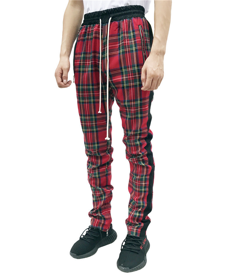 2019 New Fashion Men Sweatpants Hip Hop Pants Red Plaid Streetwear Zipper Slim Pencil Pants Men Trousers Jogger Pants