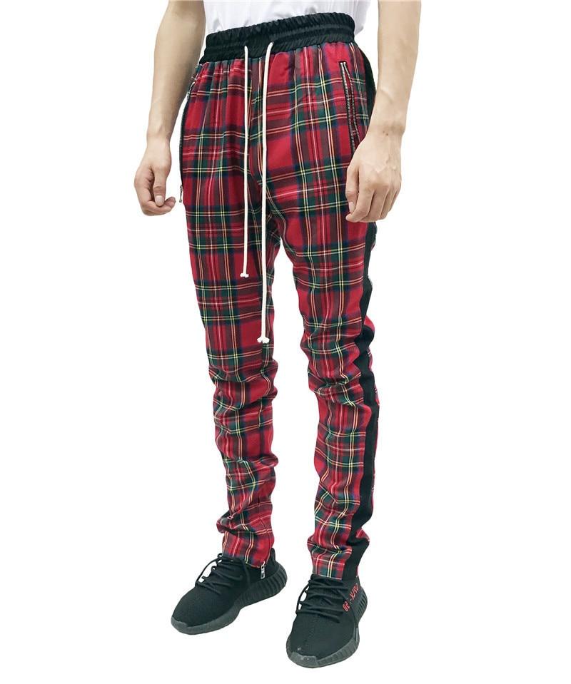 2019 New Fashion Men Sweatpants Hip Hop Pants Red Plaid Streetwear Zipper Slim Pencil Pants Men Trousers Jogger Pants