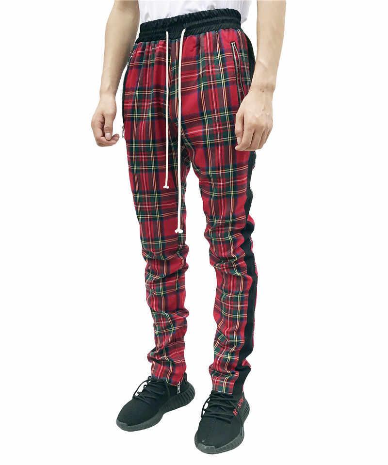 2019 Nieuwe Mode Mannen Joggingbroek Hip Hop Broek Rode Plaid Streetwear Rits Slim Potlood Broek mannen Broek Jogger Broek