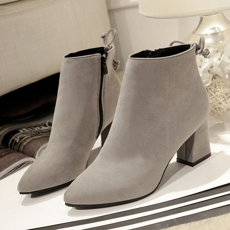 Masorini 2018 Women Boots Flock Ankle Boots Round Toe Winter Women Boots Ladies Western Stretch Fabric Boots Big Size W-186 4