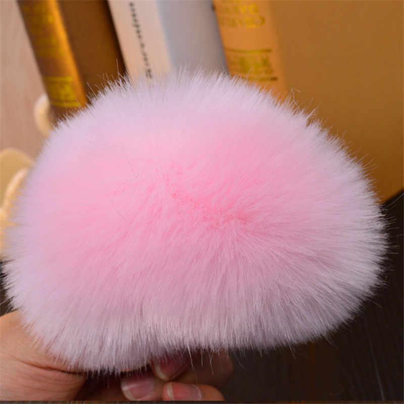 Moda feminina senhora adorável coração em forma de pompom falso pele de coelho chaveiro chaveiro bolsa acessório do carro