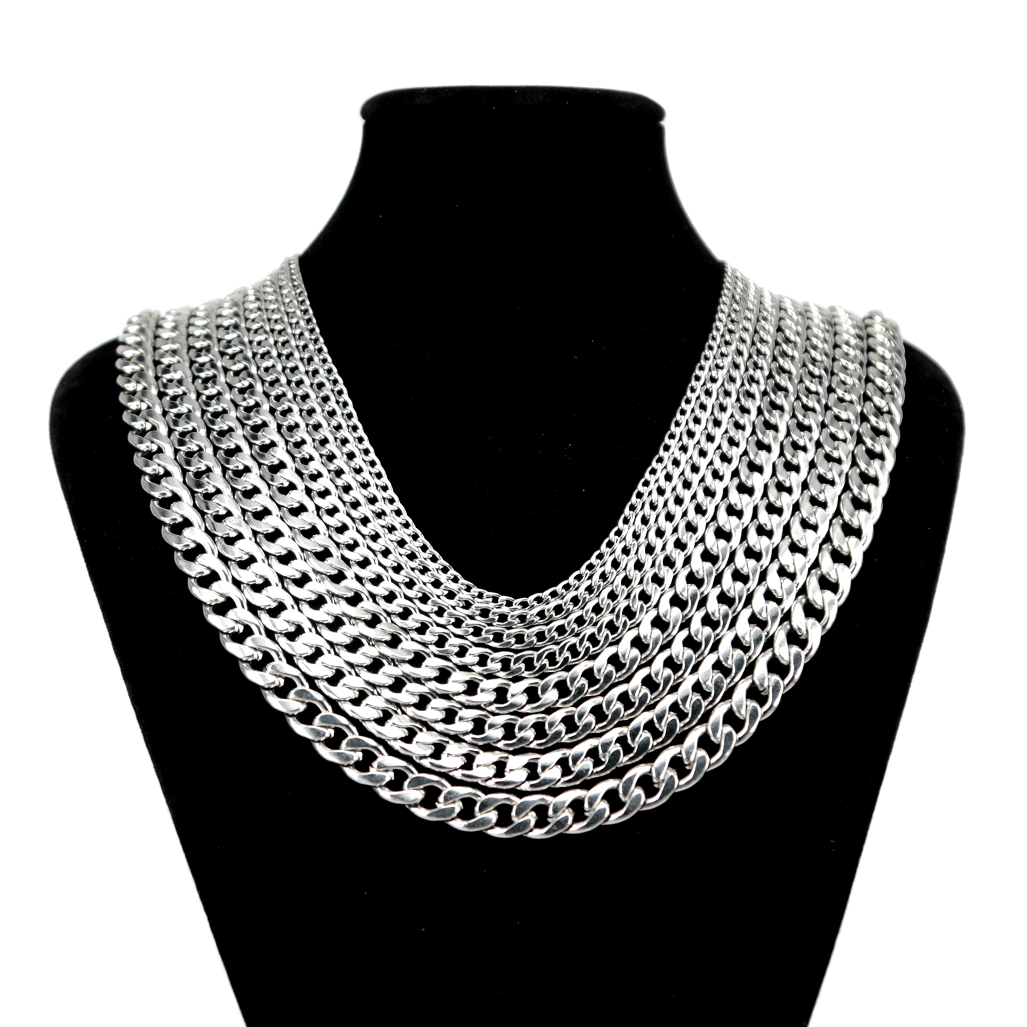 "20pcs wholesale Jewelry Men Women Silver Stainless Steel Figaro Necklace 16/""-36/"""