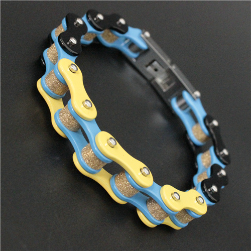 Newest Colorful Motorcycles Bicycle Chain Bracelet 316L Stainless Steel Fashion Biker Style Bracelet