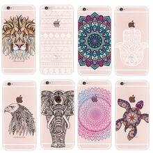 For iPhone 4 5 6 7 S Plus SE 5C Samsung Galaxy Fashion Mandala Tribal Bohe Elephant  Lion  Wolf Dear  Animals Soft TPU Case