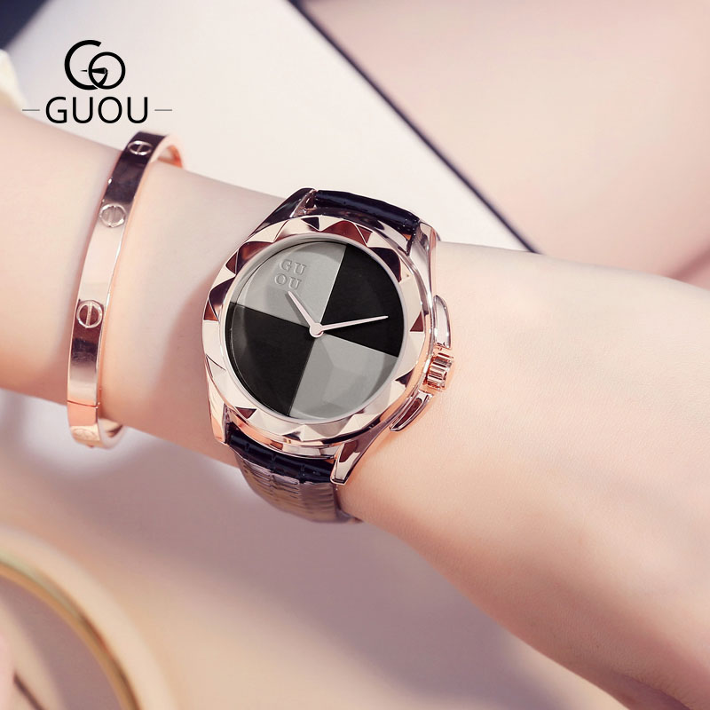 GUOU New Design Dress Horloges Dames Echt lederen Horlogeband Quartz - Dameshorloges - Foto 6