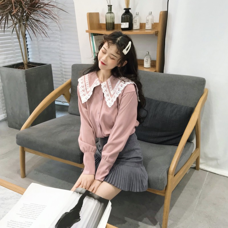 Self-Conscious Sweet Lolita Pink Shirt 2019 Mori Girls Autumn Spring Japanese Style Long Sleeve Lace Turndown Collar White Blouse Tops Comfortable Feel Women's Clothing