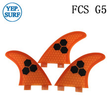 Surf Fins FCS G5 Fin Honeycomb Surfboard Fin Orange color surfing fin Quilhas thruster surf accessories new style carbonfiber orange carbon strip fcs ii surfboard fins thruster fin set 3 compatible m7 surf fin