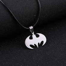 Fashion Silver chain Necklaces Men Leather Jewelry Slippy Bat Batman Stainless Steel leather Pendant Necklace for Women Men