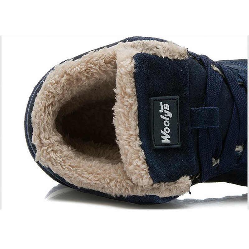 Quanzixuan รองเท้าผู้ชายฤดูหนาว WARM Snow รองเท้าบูท 2019 ใหม่ชายรองเท้าสีฟ้าสีดำ LACE-Up ข้อเท้ารองเท้าบูทแฟชั่นรองเท้าสบายๆ