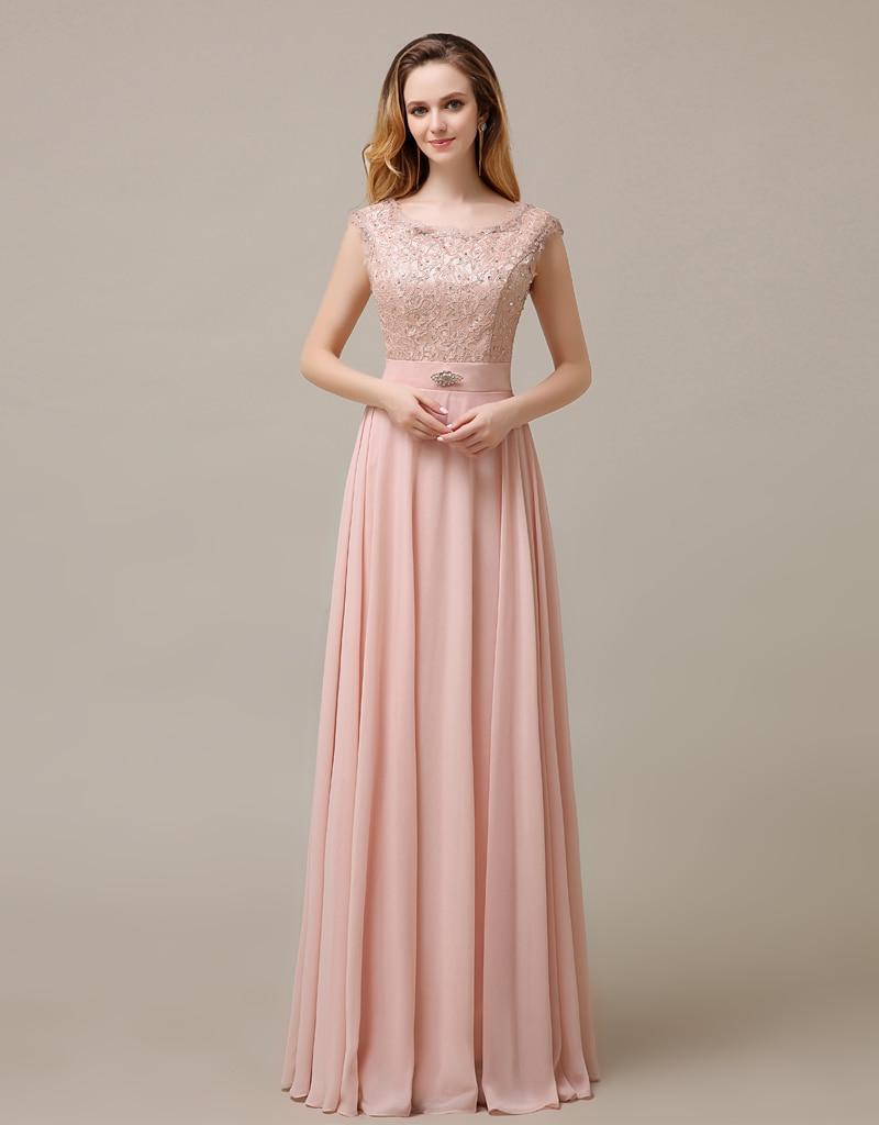 Blush Pink Lace Prom Dresses