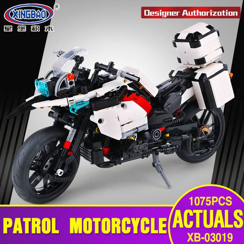 XINGBAO 03019 Genuine 1075PCS The Patrol Motorcycle Set Building Blocks Bricks Educational Funny Toys for kid As New Year Gifts new electronic wristband patrol dogs kids paw toys patrulla canina toys puppy patrol dogs projection plastic wrist watch toys
