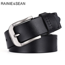 RAINIE SEAN Genuine Leather Belt Men Pin Buckle Vintage Belt Black Hollow Real Leather Cowhide Belt Strap Male Belts For Men belt male casino cas12 fact black black