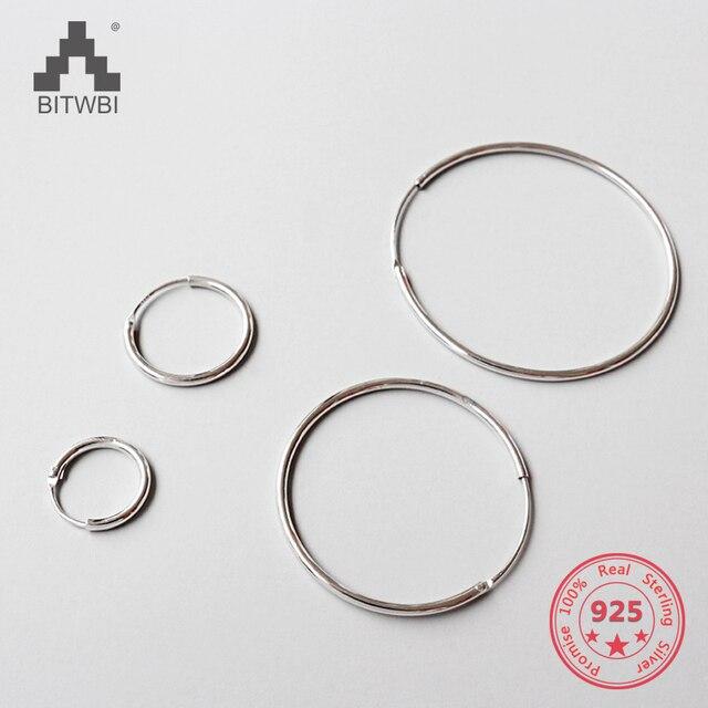 100% 925 Sterling Silver Bạc Đơn Giản Thời Trang Vòng Bạc Nữ Bông Tai