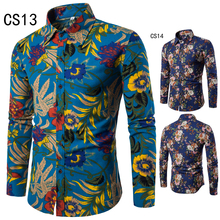 Spring Men's shirt Floral printing long sleeve