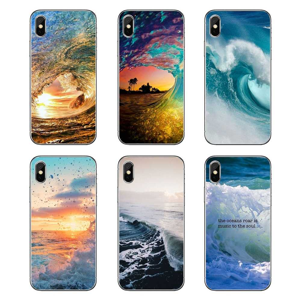 For Huawei Honor 8 8C 8X 9 10 7A 7C Mate 10 20 Lite Pro P Smart Plus Summer nature sea blue Ocean Waves Silicone Phone Cover Bag